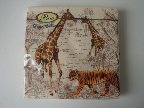 20 Lunch Servietten Paw *SAFARI* 33x33cm