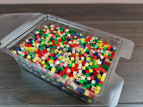 Holzperlen Würfel 6x6 mm bunt Mix-Set 9